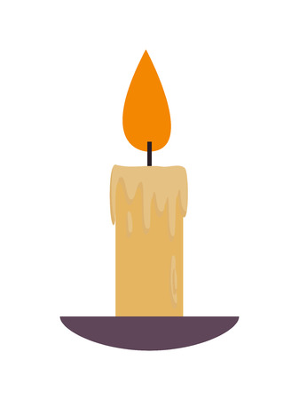 Lighted Lit Candle with Flowing Wax Plate Vector Illustration