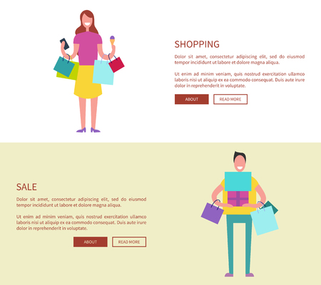 Male and Female with Colorful Shopping Bags