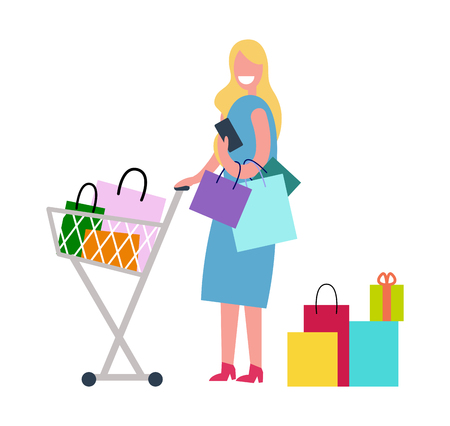 Woman in Process of Shopping Vector Illustration