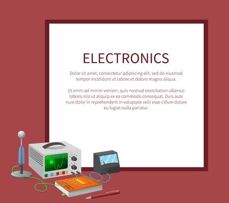 Elektronica banner met plaats voor tekst in frame Stock Illustratie
