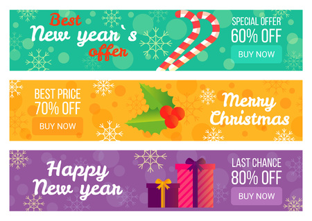 Best New Year s Offer Christmas Sale Advertising Illustration