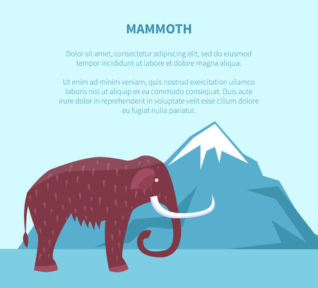 Mammoth near Mountain with Ice Top Vector Banner