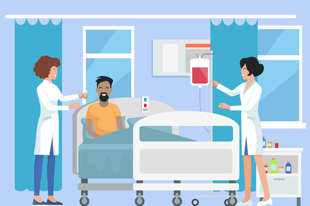 Nurses Caring for Patient on Vector Illustration