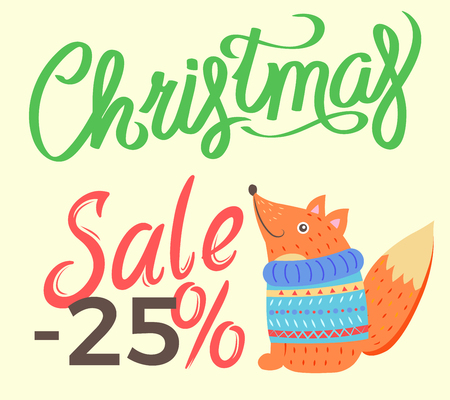 Christmas Sale -25 Fox on Vector Illustration