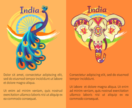 Independence Day Poster withl Peacock and Elephant