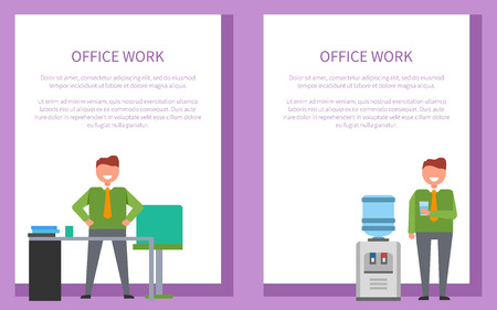 Office Work Posters Set Men with Water Workplace Illustration