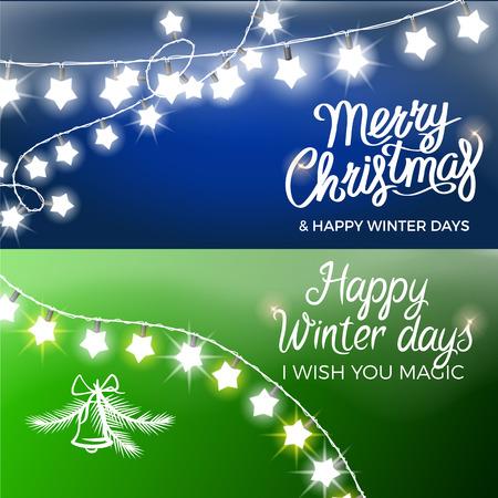메리 크리스마스와 해피 겨울 데이 엽서