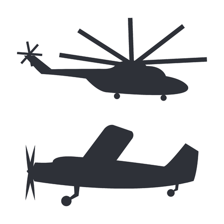 Helicopter and Plane Black Silhouettes on White