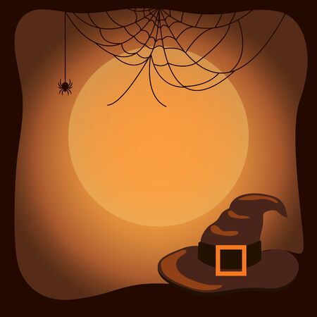 Halloween Background with Witch Hat and Spider Web Imagens