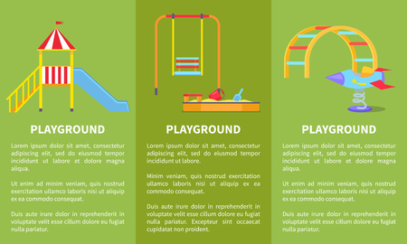Playground Posters with Childrens Slide, Sandbox