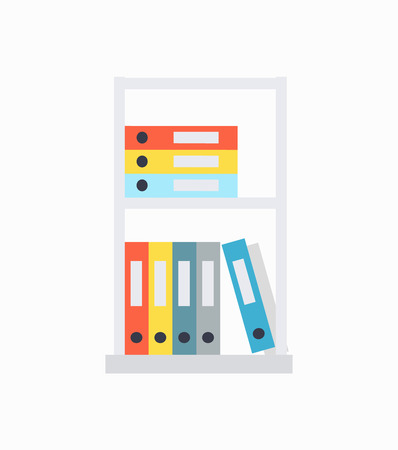 Shelves and Document Cases on Vector Illustration