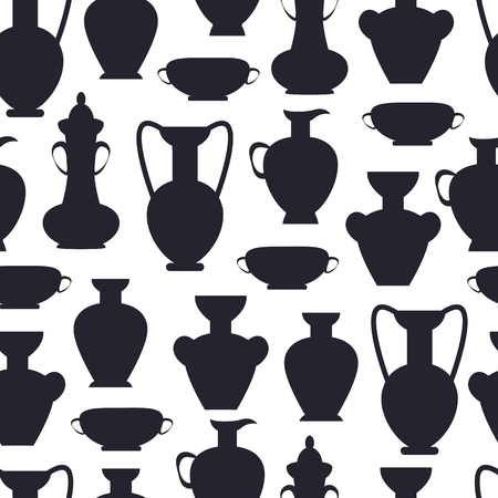 Ancient Clay Vases Isolated Vector Silhouettes