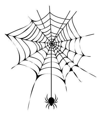 Schwarzes dünnes Netz mit Spinne lokalisierter Illustration Standard-Bild