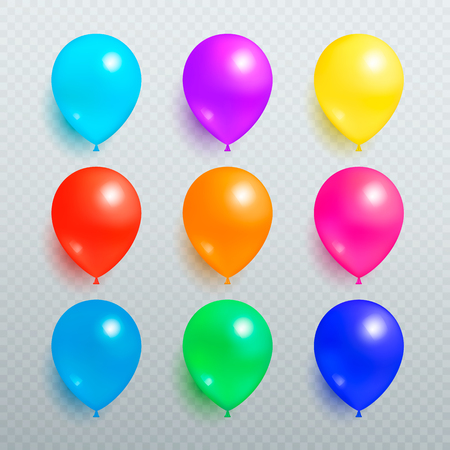 Colorful Shiny Balloons on Transparent Background Çizim