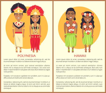 Polynesian Hawaii Couple Wearing Traditional Cloth Vettoriali