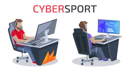 Cybersport and Gamers Poster Vector Illustration