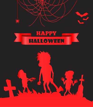 Happy Halloween Red Placard vectorillustratie