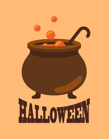 Halloween Poster with Closeup of Witch Cauldron