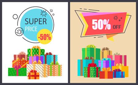 スーパープライス50%オフプロモーションポスターパッケージ  イラスト・ベクター素材