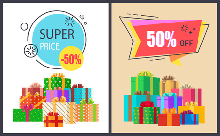 Super Price Fifty Percent Off Promo Poster Package
