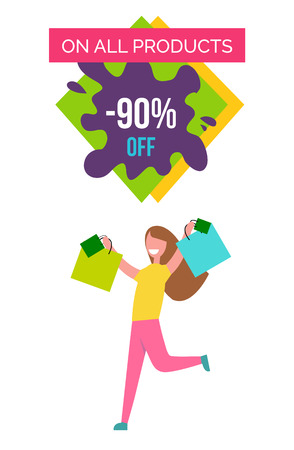 Only All Products -90 Off Vector Illustration Çizim