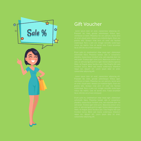 Gift Voucher with Woman Thinking about Sale Vector