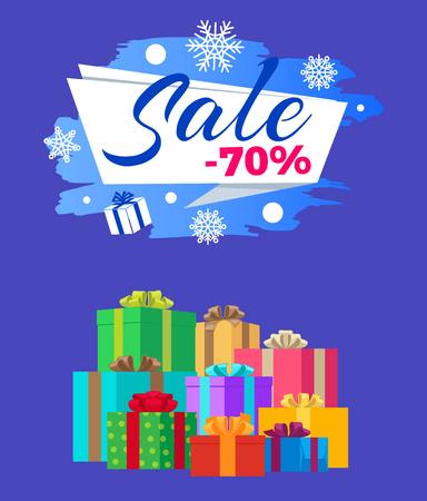 Sale -70 Vector Illustration Poster Label Gifts