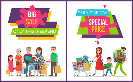 Big Sale Only This Weekend Set Vector Illustration