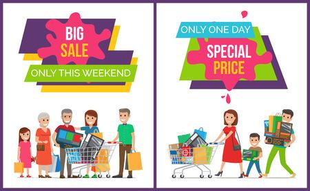 Big Sale Only This Weekend Set Vector Illustration Imagens - 90992324