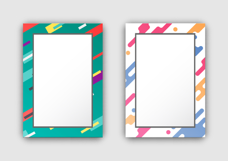 Photo Frames Set with Color Border Abstract Figure