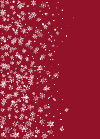 Realistic Snowflakes on Burgundy Background Vector