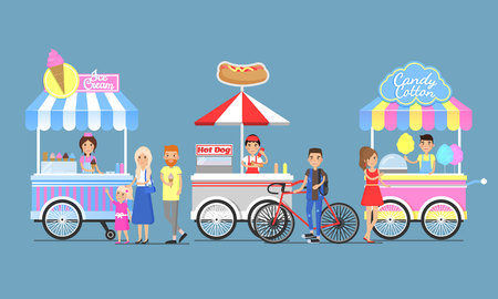 Ice Cream, Hotdog and Candy Cotton Boothes Icons
