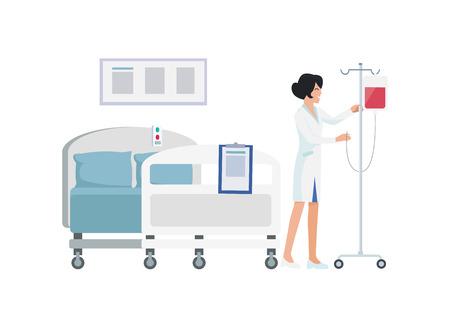 Smiling Nurse in Uniform on Vector Illustration