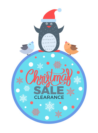 Christmas Sale Clearance Poster with Penguin Birds
