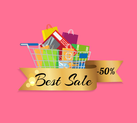 Best Sale 50 Off Banner Cart Full of Shopping Bags