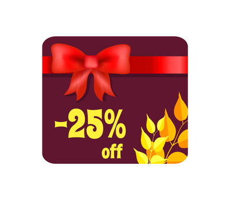 -25 Off Card with Ribbon on Vector Illustration