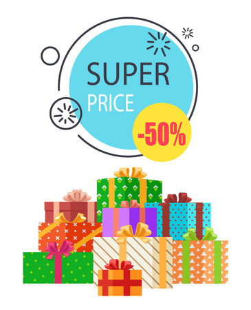 Super Sale Promo Round Label 50 Price Off Boxes