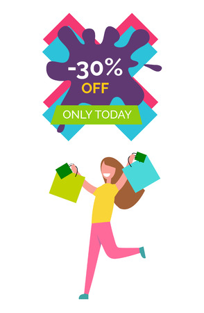 -30 Off Only Today Poster Vector Illustration