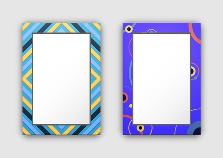 Photo Frames with Blue Border and Abstract Figures Illustration