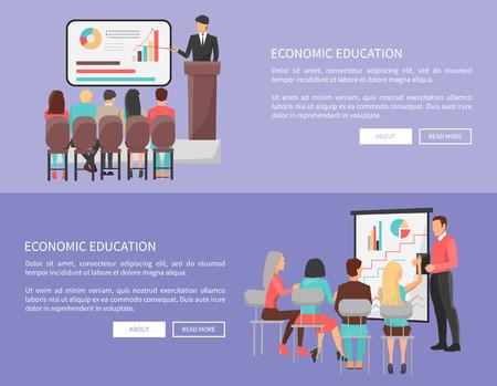 Economic Education Set of Web Posters with Teacher Çizim
