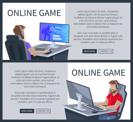 Online Gaming Poster with Man Playing Cyber Games Illustration