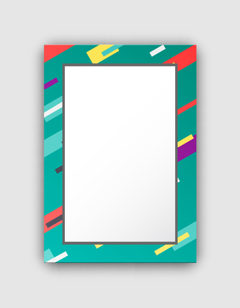 Photo Frame with Green Border and Abstract Figures Illustration