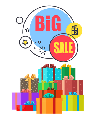 Big Sale Promo Poster with Gift Boxes in Wrappings
