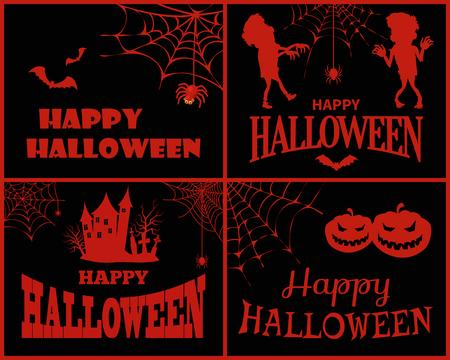 Happy Halloween-collectie op vectorillustratie