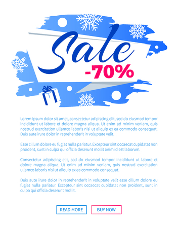 Sale Winter Discount Inscription on Label Poster