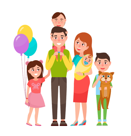 Happy Extended Family Icon Vector Illustration
