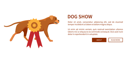 Dog Show Award with Ribbon Canine Animal Design Ilustração