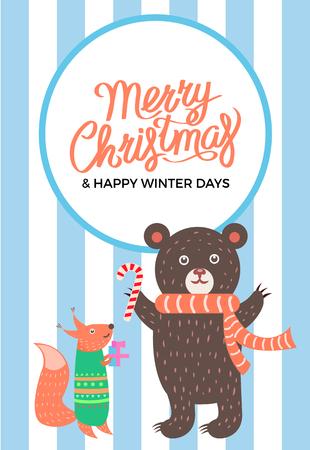 Merry Christma Icon Bear Fox Vector Illustration Illustration