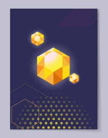 Precious Crystal Polygon Shape Vector Illustration