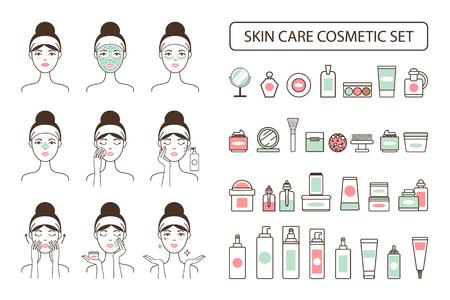 プロモーション ポスターの女性のスキンケア化粧品セット  イラスト・ベクター素材